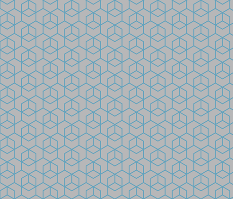Hexagon Trellis - blue on grey fabric by little_fish on Spoonflower - custom fabric