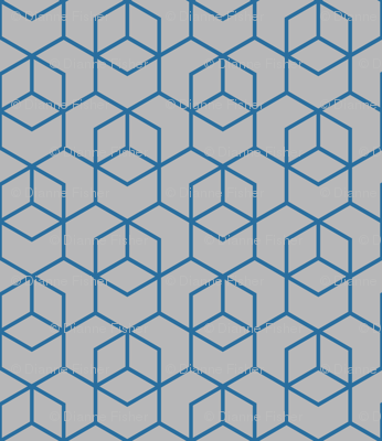 Hexagon trellis - dark blue on grey