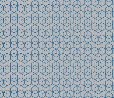 Hexagon trellis - dark blue on grey fabric by little_fish on Spoonflower - custom fabric