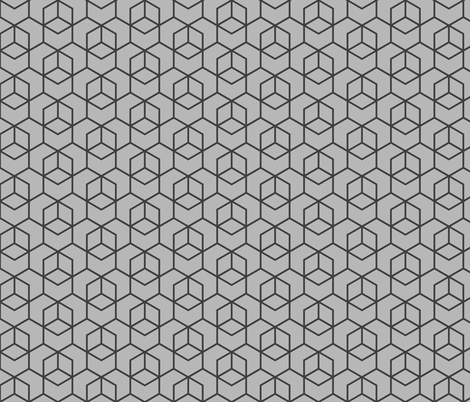 Hexagon trellis - charcoal on grey fabric by little_fish on Spoonflower - custom fabric