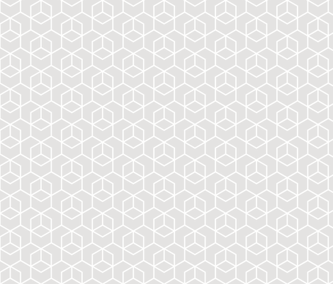 Hexagon trellis - white on pale grey fabric by little_fish on Spoonflower - custom fabric
