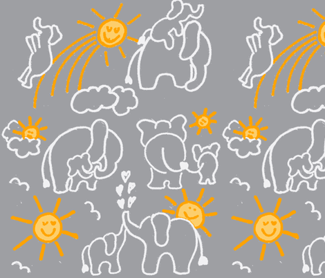 LARGE SCALE You Are My Sunshine in Grey  fabric by kbexquisites on Spoonflower - custom fabric
