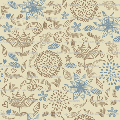 doodle vintage flowers