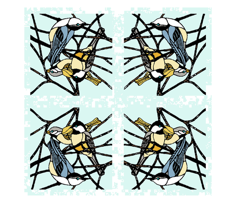 Feathered Friends: Winter Birds Napkin Set fabric by kdl on Spoonflower - custom fabric