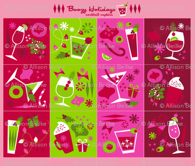 Boozy Holidays Cocktail Napkin Set