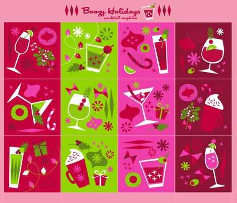 Boozy Holidays Cocktail Napkin Set fabric by acbeilke on Spoonflower - custom fabric