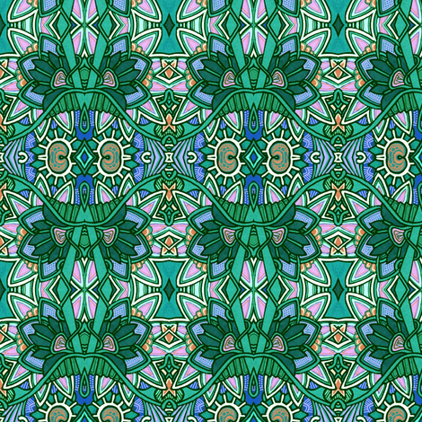 Stained Glass Window Garden fabric by edsel2084 on Spoonflower - custom fabric