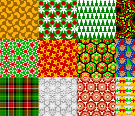 seasonal patches - xmas fabric by sef on Spoonflower - custom fabric
