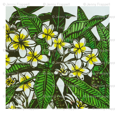 Frangipani Print for Napkins, copyright 2012 seasparkles