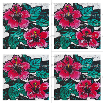 Hibiscus Print for Napkins, copyright 2012 seasparkles
