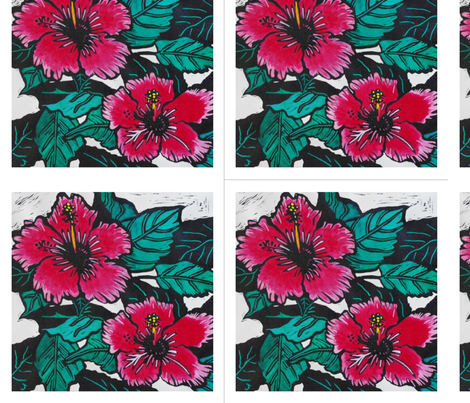 Hibiscus Print for Napkins (c)indigodaze2012 fabric by indigodaze on Spoonflower - custom fabric