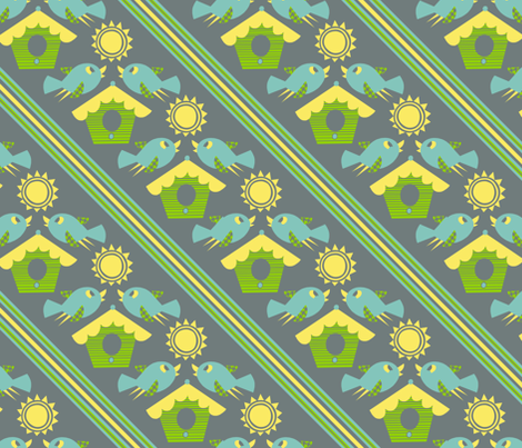 Happy Home Birdie fabric by super_hoot on Spoonflower - custom fabric