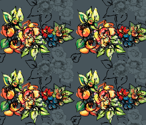 flowers & ink version one fabric by rcm-designs on Spoonflower - custom fabric