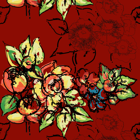 flowers & ink in red fabric by rcm-designs on Spoonflower - custom fabric