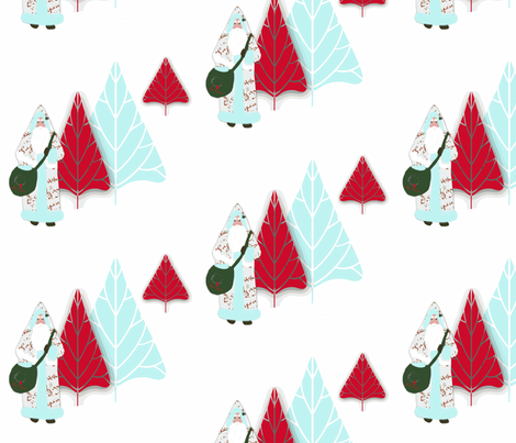 Santa and the Christmas trees fabric by karenharveycox on Spoonflower - custom fabric