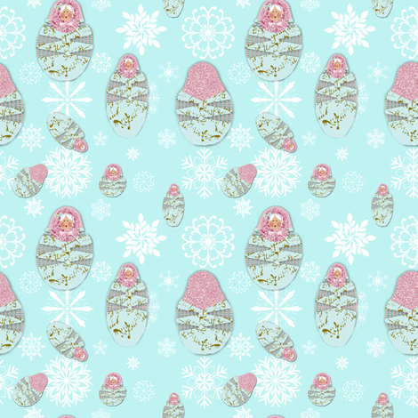 Babushka Snow II fabric by karenharveycox on Spoonflower - custom fabric
