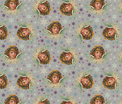 angels on grey background fabric by susiprint on Spoonflower - custom fabric