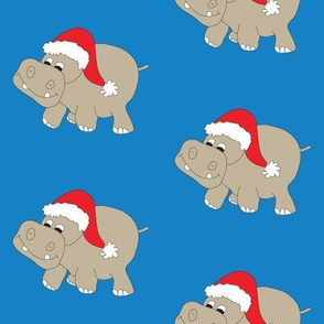 Santa Hippo Blue Background