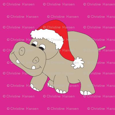 Santa-Hippo-Pink-Background