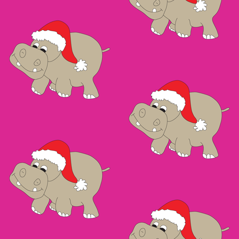 Santa-Hippo-Pink-Background fabric by coveredbydesign on Spoonflower - custom fabric