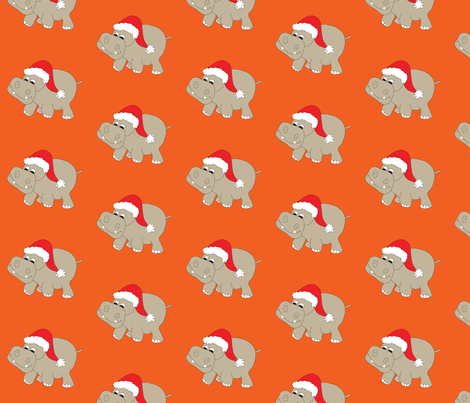 Santa Hippo Orange Background fabric by coveredbydesign on Spoonflower - custom fabric