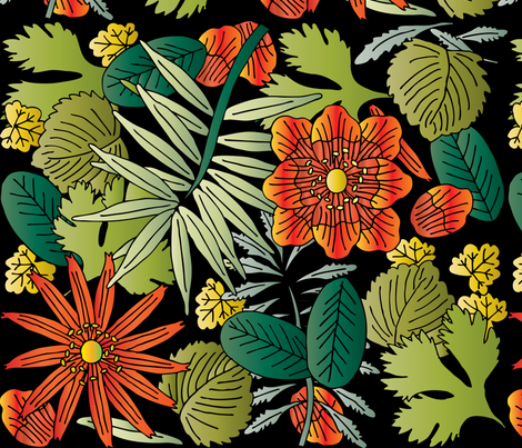 Botanic - Night fabric by owlandchickadee on Spoonflower - custom fabric