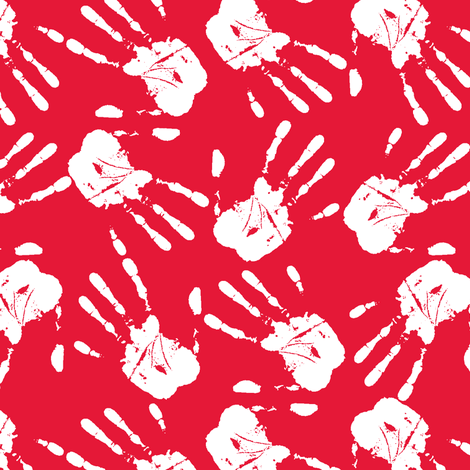 hands all over white red-ch-ch fabric by susiprint on Spoonflower - custom fabric