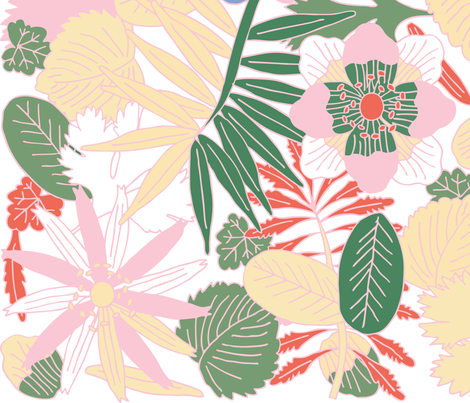 Botanic - Soft/White fabric by owlandchickadee on Spoonflower - custom fabric