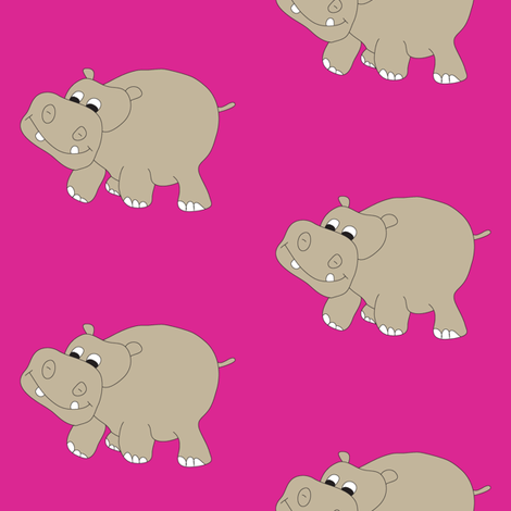 Hippo-Pink fabric by coveredbydesign on Spoonflower - custom fabric
