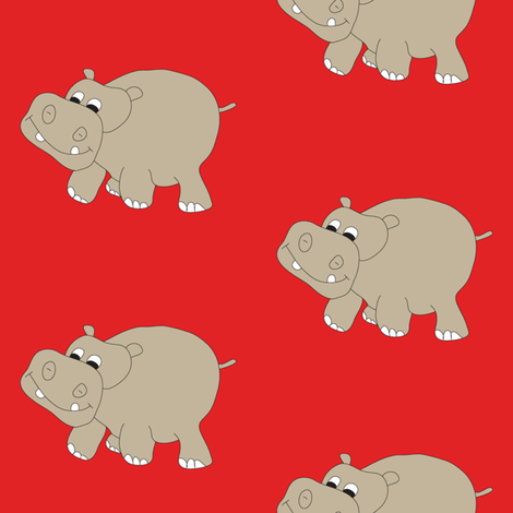 Hippo-Red fabric by coveredbydesign on Spoonflower - custom fabric