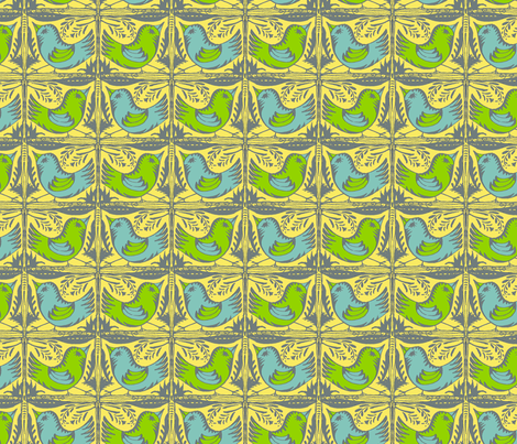 Beady Eyed Bird (Flights of Fancy) fabric by wednesdaysgirl on Spoonflower - custom fabric
