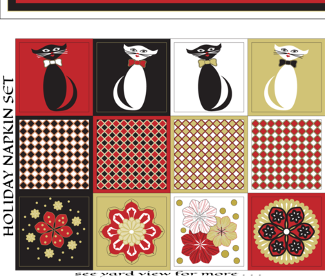 Christmas Cat Napkins & Table Runner  fabric by mag-o on Spoonflower - custom fabric