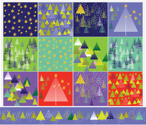 Holiday Trees/Starry Nights Cocktail Napkins fabric by snuss on Spoonflower - custom fabric