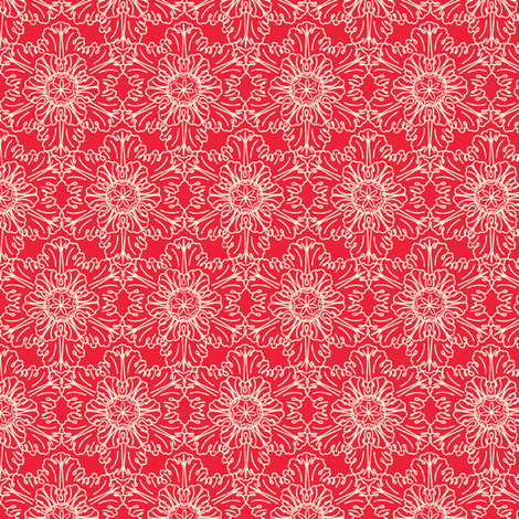 Snowflake in Red fabric by horn&ivory on Spoonflower - custom fabric