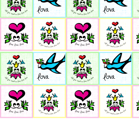 All you need is love - Tattoo inspired napkin set fabric by mainsail_studio on Spoonflower - custom fabric