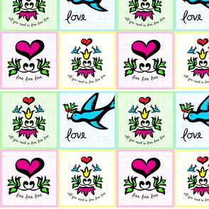 All you need is love - Tattoo inspired napkin set