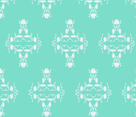 Turquoise and White Damask fabric by captiveinflorida on Spoonflower - custom fabric