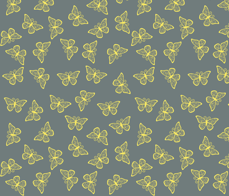 Fancy Butterflies - Yellow fabric by shelleymade on Spoonflower - custom fabric