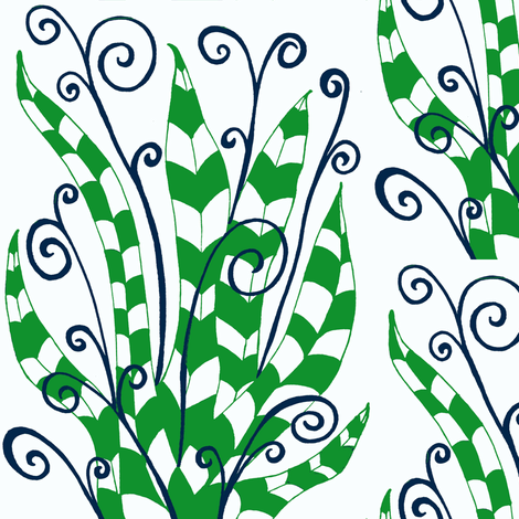 Leaves & Curls fabric by syllatham on Spoonflower - custom fabric
