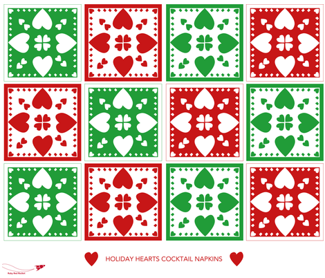 holiday_hearts fabric by therubyredrocket on Spoonflower - custom fabric