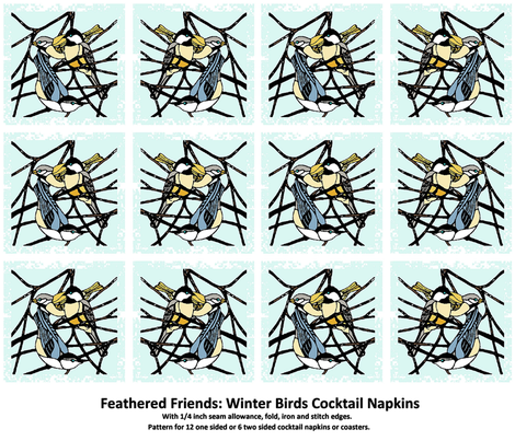 Feathered Friends: Winter Birds Cocktail Napkins Set fabric by kdl on Spoonflower - custom fabric