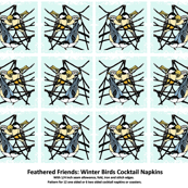 Feathered Friends: Winter Birds Cocktail Napkins Set