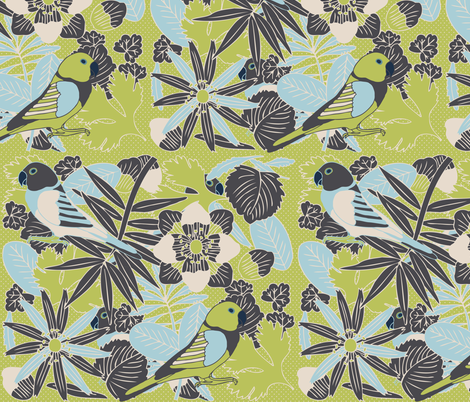 Botanic & Birds fabric by owlandchickadee on Spoonflower - custom fabric