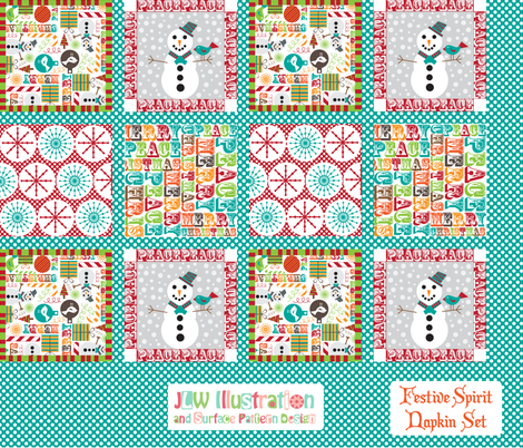 Festive_Spirit_Napkin  fabric by jlwillustration on Spoonflower - custom fabric