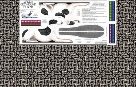 Greyhound Pillow Kit - Black Brindle Spots Male fabric by artbyjanewalker on Spoonflower - custom fabric