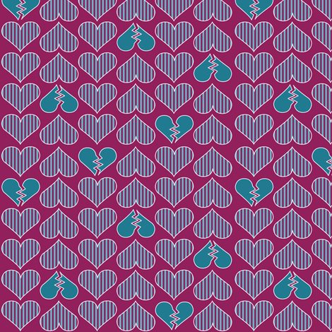 Broken Hearts-Mulberry fabric by mag-o on Spoonflower - custom fabric
