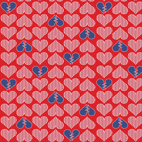 Broken Hearts -Patriotic fabric by mag-o on Spoonflower - custom fabric