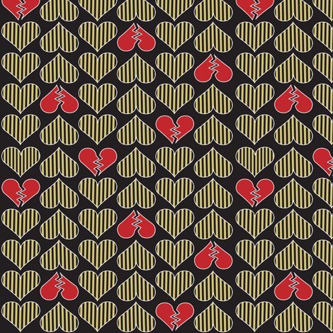 Broken Hearts-Gold fabric by mag-o on Spoonflower - custom fabric