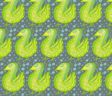 Pattern Bird, blue dots fabric by kcs on Spoonflower - custom fabric