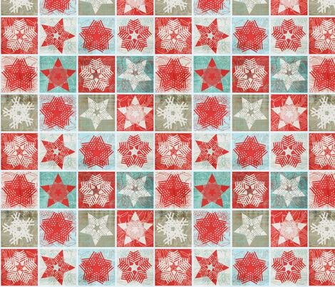 Starflakes - Poinsettia-Ice-Linen fabric by owlandchickadee on Spoonflower - custom fabric